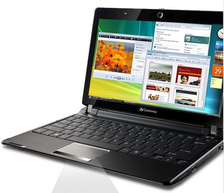 Gateway LT3103u AMD Netbook angled