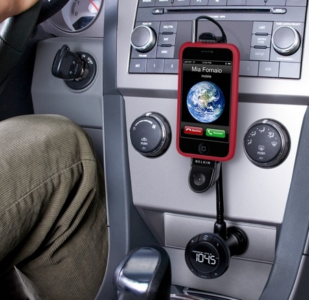 Belkin TuneBase FM and TuneBase Direct iPhone car hands-free in car