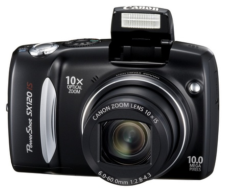 Canon PowerShot SX120 IS 10x zoom camera front