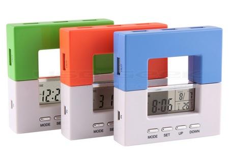 USB Hub-Alarm Clock Combo