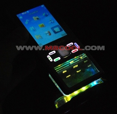 Flourite N68 Shanzhai Phone with transparent keypad in dark