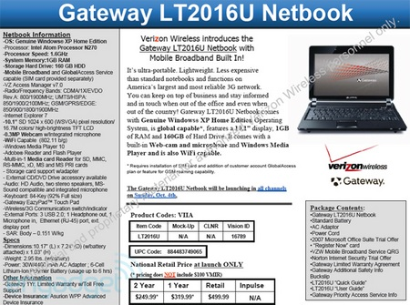 Gateway LT2016u Netbook for Verizon