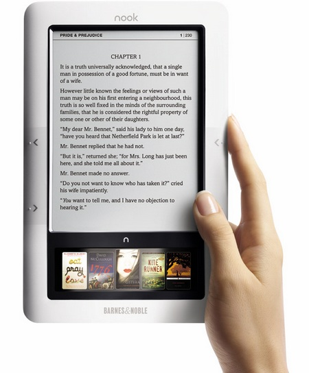 Barnes & Noble nook Wireless e-book reader hand