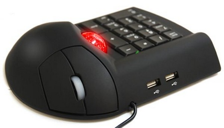 3-in-1 Mouse Combo - a Trackball mouse, a Numeric keypad, a USB hub
