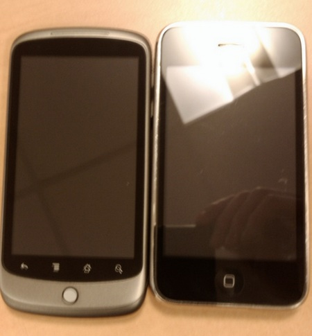 Google Nexus One Live Shot next to iphone