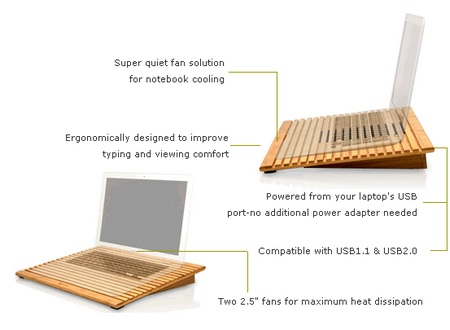 Macally EcoFan Bamboo Notebook Cooling Stand details