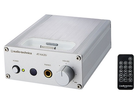 Audio Technica AT-HA35i Headphone Amp doubles as an iPod Dock