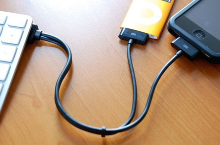 CableJive duaLink splitter cable for iPod and iPhone in use