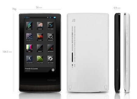 Cowon J3 AMOLED Portable Media Player dimension