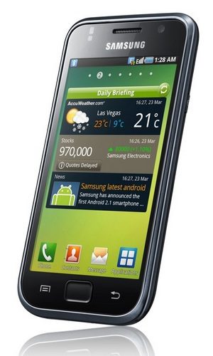 Samsung Galaxy S Smartphone - Android 2.1, 4-inch AMOLED, 1GHz CPU angle