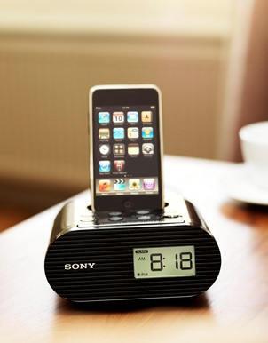 Sony ICF-C05iP iPod Dock clock Radio in use