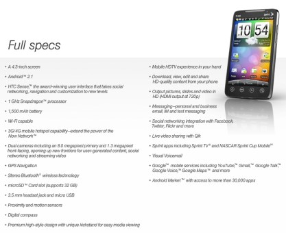 Sprint HTC EVO 4G Android Superphone specs