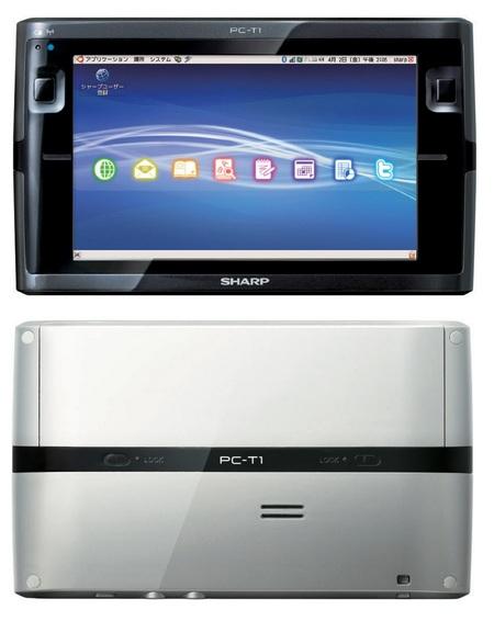 Sharp NetWalker PC-T1 Ubuntu Tablet Device front back