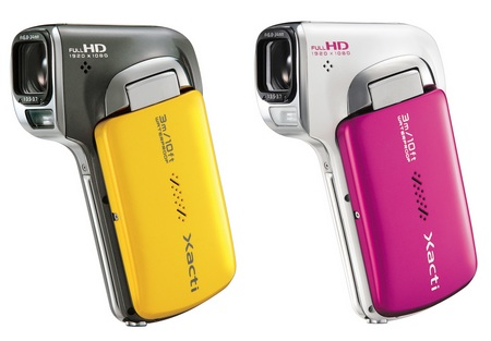 Sanyo Xacti DMX-CA100 Waterproof Full HD Dual Camera yellow pink