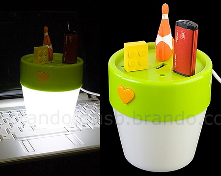 Flower Pot USB Hub with Light