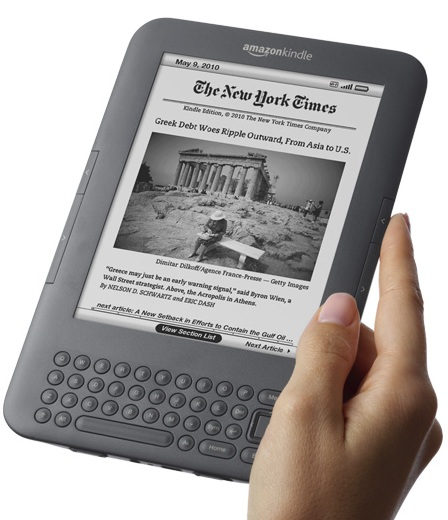 Amazon Kindle 3G+WiFi e-book reader on hand