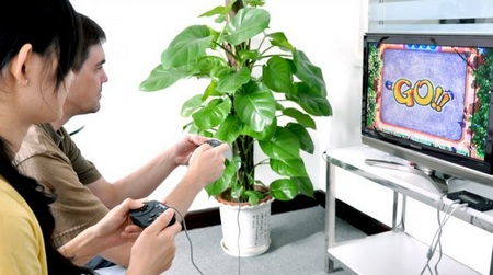 Letcool 350JP Portable Gaming Device Media Player on TV