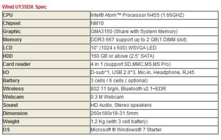 MSI Wind U135DX Netbook Specs