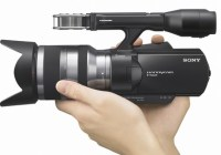 Sony Handycam NEX-VG10 - The First Interchangeable Lens HD Camcorder on hand