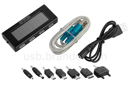 Solar Charging 4-port USB Hub with built-in battery and flashlight package