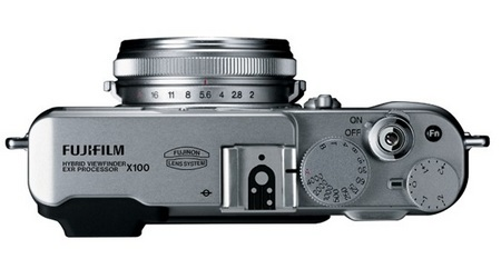 FujiFilm FinePix X100 Camera with Hybrid Viewfinder top