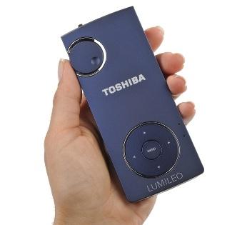 Toshiba Lumileo P100 LED pico projector on hand