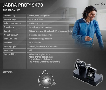 Jabra PRO 9470 headset microsoft lync