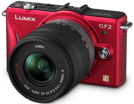 Panasonic LUMIX DMC-GF2 DSLMicro Mirrorless Camera red