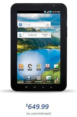 Samsung Galaxy Tab Hits AT&T for $649.99