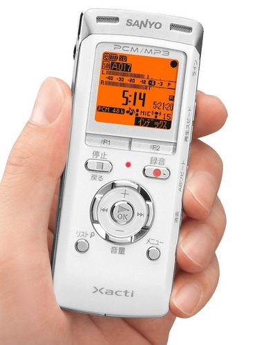 Sanyo ICR-PS401RM Xacti Sound Recorder on hand