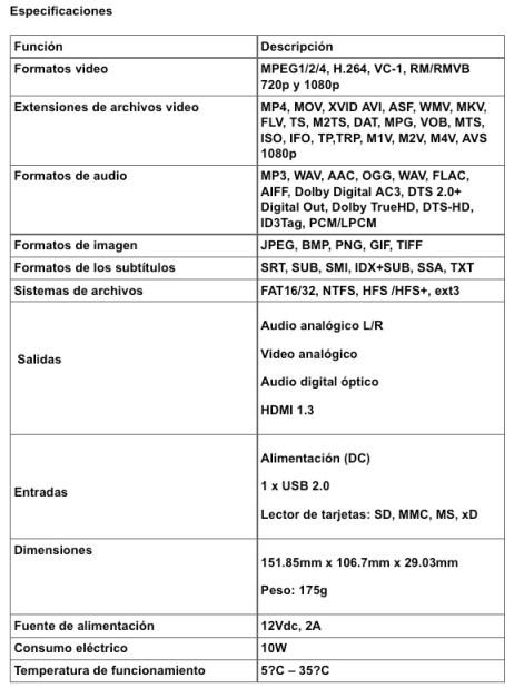 Asus O!Play MINI HD Media Player specs