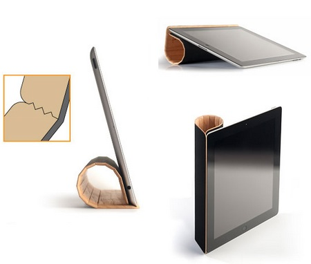 Miniot Real Wood Cover for iPad 2 3-way stand