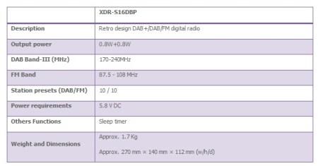 Sony XDR-S16DBP Retro-styled Portable DAB+ Radio specs