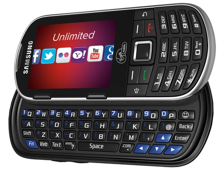 Virgin Mobile Samsung Restore QWERTY Phone horizontal