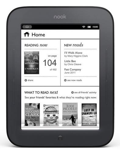 Barnes & Noble NOOK Touch E-book Reader home screen