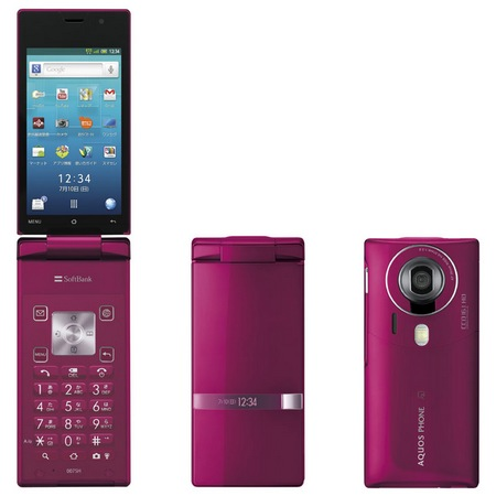 Softbank Sharp 007SH AQUOS PHONE THE HYBRID Clamshell runs Android pink