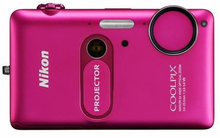Nikon CoolPix S1200pj Digital Camera with built-in Projector pink