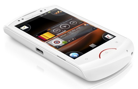 Sony Ericsson Live with Walkman Android Phone white angle