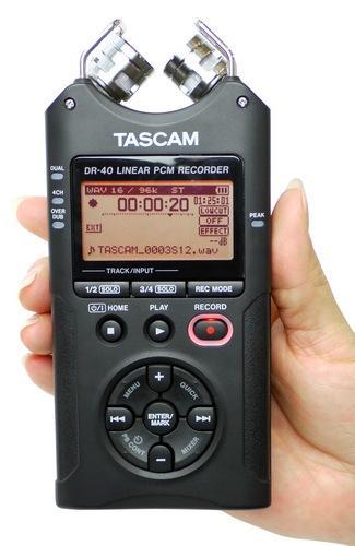 TASCAM DR-40 Handheld 4-Track Recorder on hand