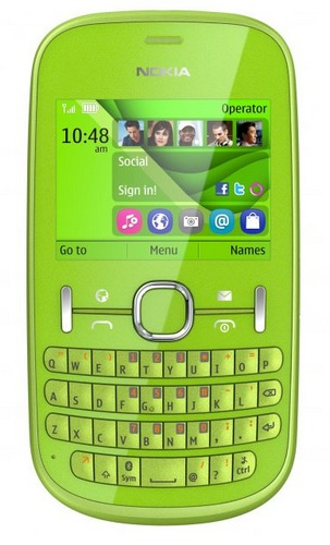 Nokia Asha 200 and Asha 201 S40 Phones with QWERTY Keyboard green