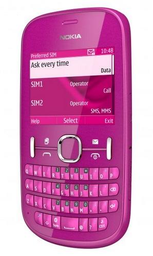 Nokia Asha 200 and Asha 201 S40 Phones with QWERTY Keyboard pink