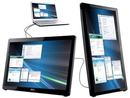 AOC e1649fwu 15.6-inch USB Monitor 1