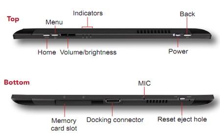 ViewSonic ViewPad 10pi Dual-Boot Windows 7 Tablet connectors