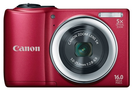 Canon PowerShot A810 Digital Camera uses AA Batteries red
