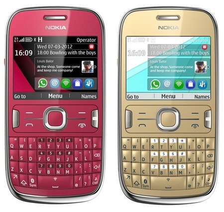 Nokia Asha 302 S40 mobile phone gold red