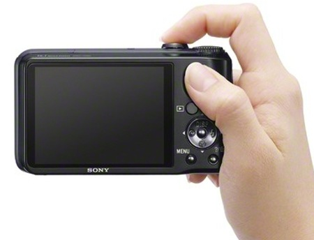 Sony Cyber-shot DSC-H90 16x Zoom Camera on hand