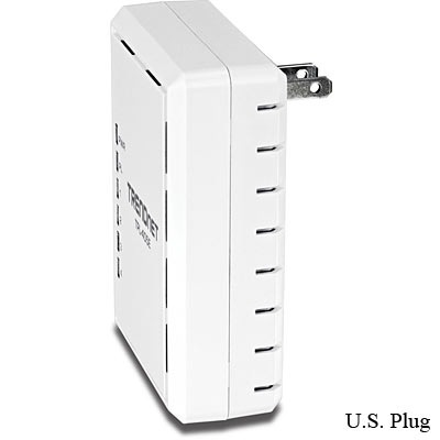 TRENDnet TPL-405E 500Mbps Powerline AV Adapter with 4 Gigabit LAN Ports us plug