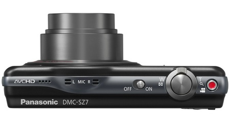 Panasonic LUMIX DMC-SZ7 10x zoom slim camera top