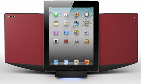 Sony CMT-V75BTiP ipad hifi system red with ipad