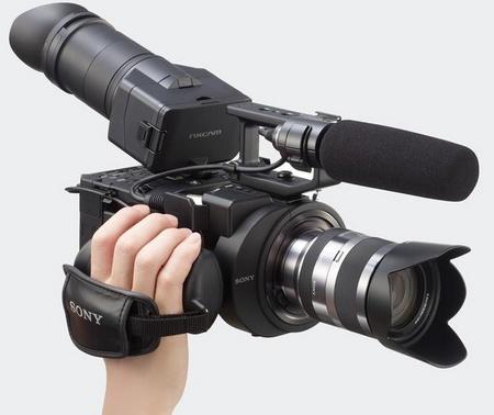 Sony NXCAM NEX-FS700U Full HD Super Slow Motion Camcorder on hand